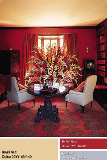 Màu sơn đỏ hồng ngọc mang lại sự quý phái và ấm áp Dulux Brazil Nut.