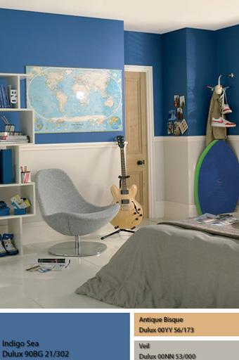 Sử dụng sơn màu xanh trong không gian Thủy.