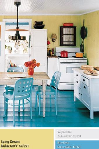 Màu vàng tươi của căn phòng bếp với Sơn Dulux.