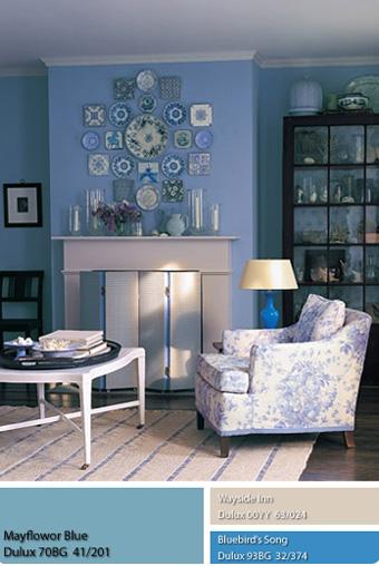 màu sơn xanh dương cổ điển Dulux Mayflower Blue.