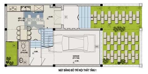 Mặt bằng bố trí nội thất tầng 1.