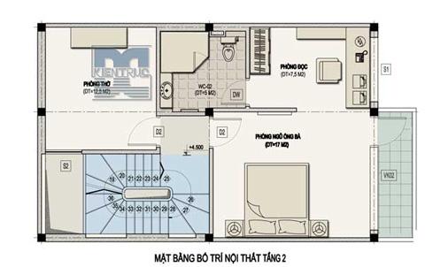 Mặt bằng bố trí nội thất tầng 2
