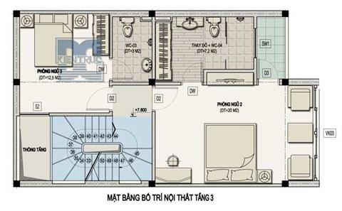 Mặt bằng bố trí nội thất tầng 3.