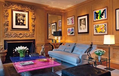 Phòng khách đậm chất hội hạo của nhà thiết kế Sting.