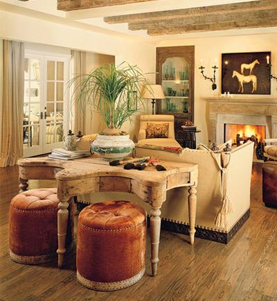 Phòng khách là nơi thư giãn yêu thích của gia đình cặp đôi Kimberly & Dennis Quaid