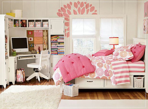 Màu hồng phấn dịu dàng, nữ tính cho phòng bé gái.