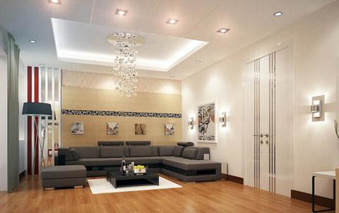 Vẻ đẹp của toàn bộ căn phòng được tôn lên nhờ màu sơn tường trang nhã, mảng tường trang trí và hệ thống đèn trần, đèn tường.