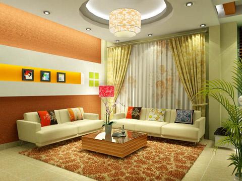 Màu sắc tường hài hòa với đồ nội thất mang phong cách hiện đại kết hợp với một khoảng tường gỗ trang trí tạo điểm nhấn trong phòng.