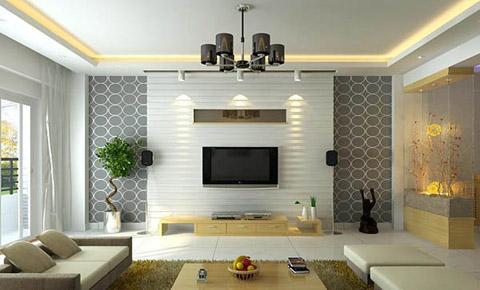 Tường nền trắng kết hợp với hoa văn giấy dán tường tạo nên sự sang trọng và tinh tế.