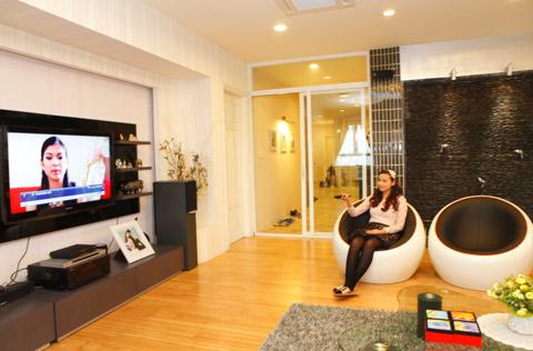 Không gian phòng khách rất sinh động, tràn đầy sức sống.