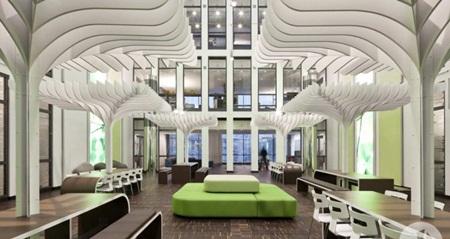 Hầu hết các thiết kế nội thất và vật liệu trong văn phòng của MTV Networks đều nhằm mục đích mọi người dễ dàng nhận ra biểu tượng logo của công ty này.