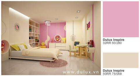 Với những cô công chúa nhỏ, màu hồng phớt xinh xinh sẽ là một lựa chọn thật tuyệt vời, như trong không gian ngọt ngào và nữ tính với màu hồng Dulux Inspire 32RR 50/280.