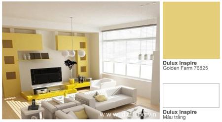 Ngược lại, cũng có những vị trí trong nhà mà bạn đặc biệt ưa thích và muốn khoe với mọi người, hãy thử làm chúng nổi bật bằng màu sắc. Như mảng tường để TV trong căn phòng khách này đã được chủ nhân khéo léo làm nổi bật bằng màu sơn vàng thu hút.
