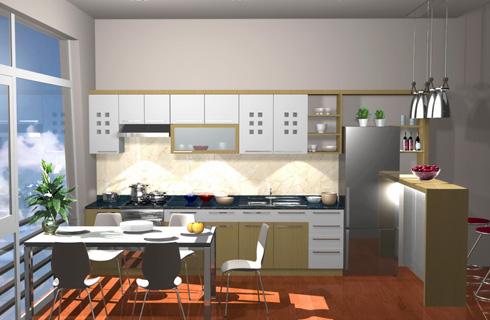 Mặt bàn tủ bếp, mảng tường giữa tủ bếp dưới và tủ bếp treo nên dùng vật liệu ít bám bẩn và dễ làm vệ sinh.