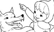 Tranh tô màu 'Cô bé quàng khăn đỏ và con sói'