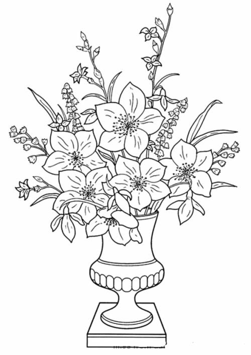 Tranh tô màu bình hoa - 1