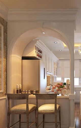 Mini bar là điểm duyên của khu vực bếp ăn và view nhìn dễ chịu từ phòng khách.