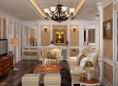 Phòng khách với các gam màu tinh tế và đường nét chi tiết mềm mại, nhẹ nhàng. Đây là khu vực trung tâm của ngôi nhà. Nội thất châu Âu tạo nên không gian sang trọng và có nhiều điểm nhấn với những mảng tường trang trí.