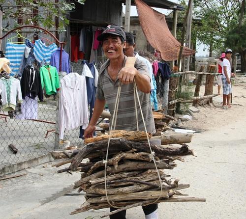 những gánh củi khô được nhặt về làm chất đốt đề phòng mất điện kéo dài khi có bão. Ảnh: Phúc Nguyễn