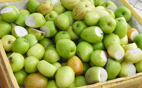 Những loại hoa quả bị hỏng một phần có giá rất rẻ, một kg táo chỉ khoảng 5.000 đồng.