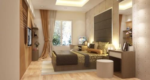 Phòng ngủ hướng Tây Nam màu trung tính nhẹ nhàng.