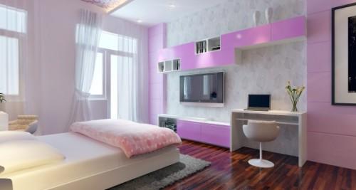 Phòng ngủ có ban công lấy sáng và gam màu tím nhạt lãng mạn.