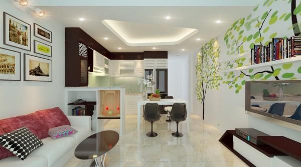 Bố trí nội thất cho nhà 2 tầng có mặt bằng 28 m2