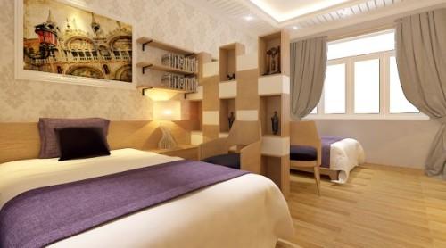 Cửa sổ phòng ngủ với hệ thống rèm dày để che khi phòng nàm ở hướng nắng, rèm tông màu trung tính, dịu dàng .