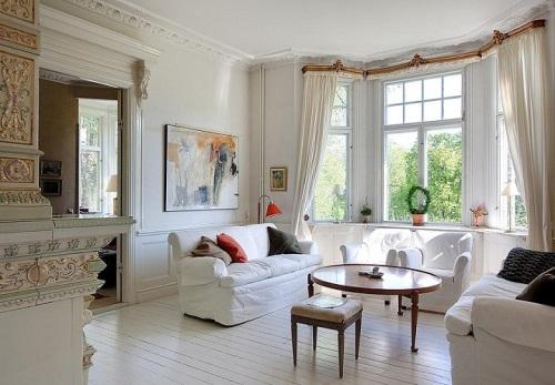 Cửa sổ cách điệu cho phòng khách cổ điển, mang phong cách sang trọng và nhã nhặn.
