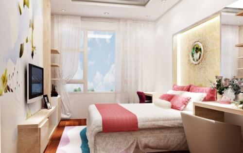 Cửa sổ phòng ngủ với chất liệu rèm mỏng dành cho cửa sổ phòng ít nắng và chất liệu mỏng làm tăng sự nhẹ nhàng cho không gian này.