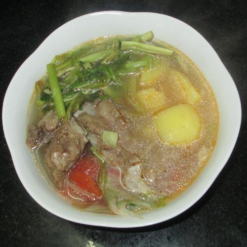 Canh rau cần nấu khoai tây 5