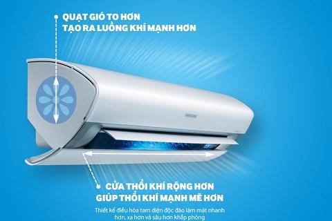 Máy điều hòa Samsung thế hệ mới có hiệu suất làm mát mạnh mẽ nhờ thiết kế tam diện.