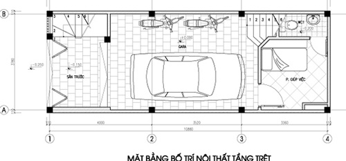 Tầng trệt để trống và phòng gia nhân. Khi nhà có việc có thể mở rộng diện tích cho việc cỗ bàn.