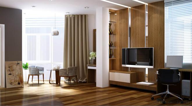 Nhà dùng phần lớn chất liệu gỗ với màu sắc mộc tự nhiên 1