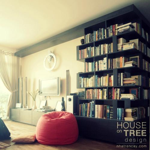 Khắp căn nhà có khá nhiều kệ sách lớn nhỏ, nhưng mục đích vừa để tạo điểm nhấn, vừa để chủ nhà ý tứ khoe bộ sưu tập của mình và cũng để dễ dàng cho việc đọc hay tra cứu bất cứ lúc nào, phần lớn sách được đặt ở kệ lớn giữa phòng khách.