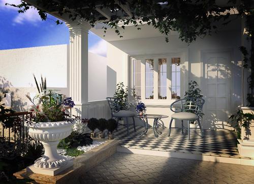 Một không gian sân vườn trên sân thượng là không thể thiếu để đáp ứng nhu cầu là nơi đi về cuối tuần thư giãn, nhỏ thôi nhưng đầy đủ hoa lá, tiếng nước róc rách, một cặp ghế tình nhân quyện trong sương sớm, bên ly cafe ấm nồng...