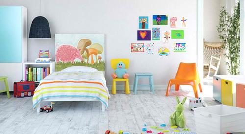 Những bức tranh ảnh tươi vui thích hợp với phòng của bé.