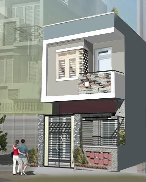 Phác họa phong cách hiện đại cho căn nhà, không quá cầu kì yề hình thức mặt tiền dơn giản để giảm chi phí