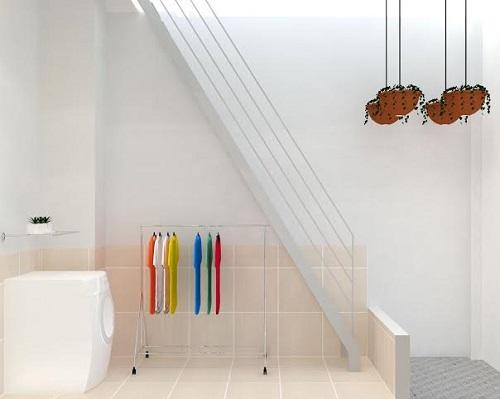 Không gian giếng trời kết hợp làm phòng giặt phơi sau cùng rất tiện nghi
