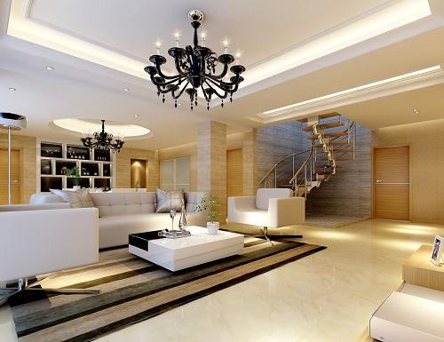 Bạn nên sử dụng các đèn hắt âm trần. để sàn cho phòng khách thêm ấn tượng .