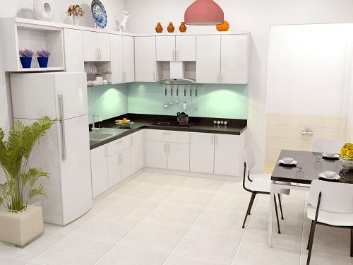 Gian bếp và phòng ăn chung tạo cho căn nhà rộng hơn.