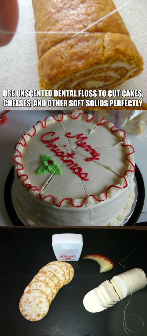 Cắt bánh mềm bằng sợ chỉ sẽ làm các miếng bánh nguyên vẹn hơn, trông ngon hơn.