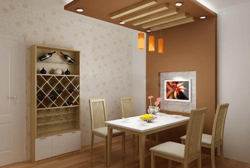 Đèn trang trí làm điểm nhấn cho phòng ăn.