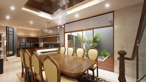 Phòng ăn sử dụng đèn pha lê và đèn lon cho ánh sáng đều chan hòa.