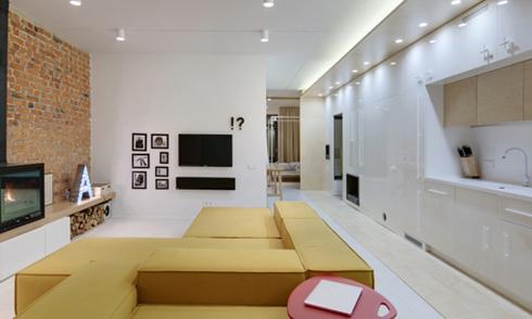 Căn hộ 90 m2 với tường gạch mộc
