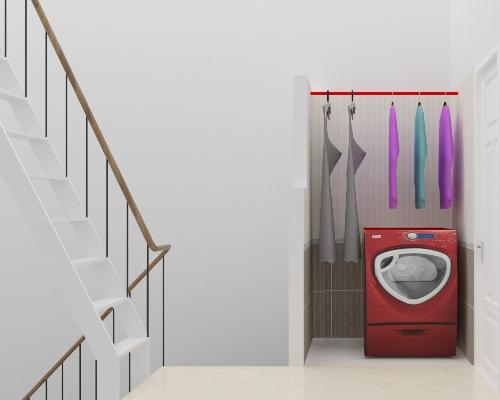 Phòng giặt phơi được lấy sáng từ cầu thang.