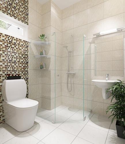 Phòng vệ sinh trên lầu sạch sẻ và thóang đãng.