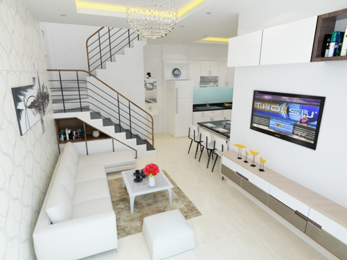 Phối cảnh phòng khách đơn giản, với tông màu sáng tạo cảm giác rộng rãi sang trọng.