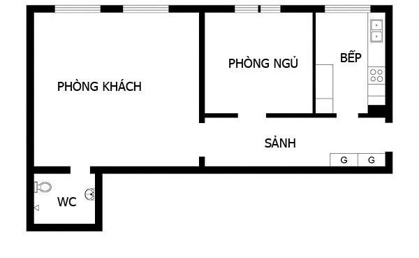 Căn hộ 45 m2 với màu sắc trung tính