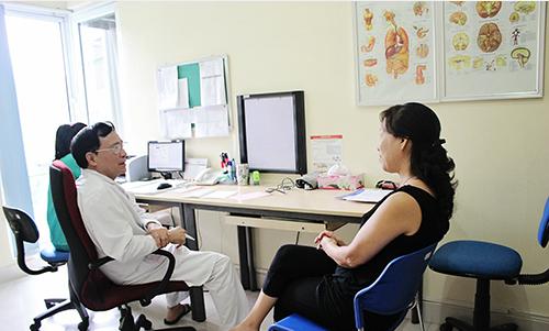 Phó giáo sư, Tiến sĩ,Thầy thuốc nhân dân Nguyễn Văn Quýnhtư vấn cho người bệnh
